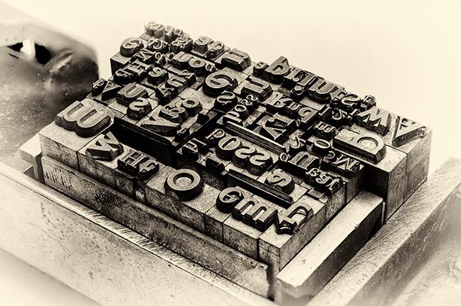 Letras usadas na prensa tipográfica